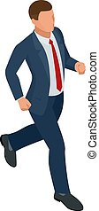 Isometric businessman isolated on write. Creating an office worker character, cartoon people. Business people. Businessman is running