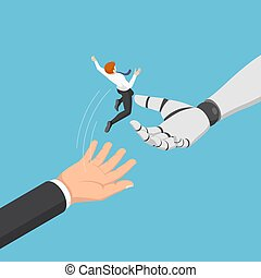 Isometric businessman jump from human to ai robot hand