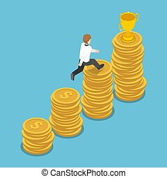 Isometric businessman jump to the top of coin stack graph to get golden trophy.