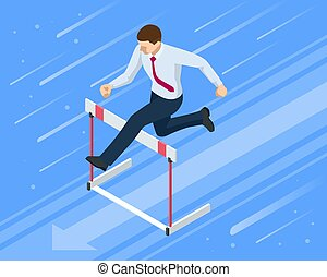 Isometric businessman jumping over obstacle. Overcome obstacles. Business competition concept