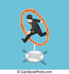 Isometric businessman jumping through fire hoop.