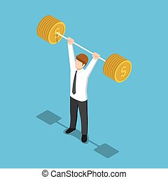 Isometric businessman lifting barbell coins.