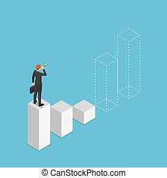Isometric businessman looking through telescope and prediction future of bar graph