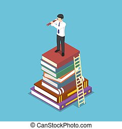Isometric businessman looking through telescope on stack of book