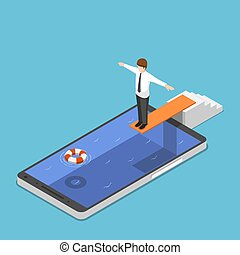 Isometric businessman on springboard ready to jump in the...