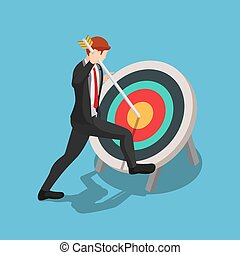 Flat 3d isometric businessman pinned arrow at the center of target. Business target and leadership concept.