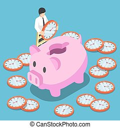 Isometric businessman putting a clock into a pink piggy bank