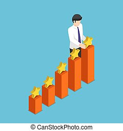 Isometric businessman putting star on the top of growth business graph