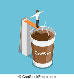 Isometric businessman ready to jump into a cup of coffee -...