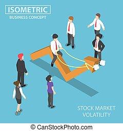 Isometric businessman riding skittish stock market graph -...