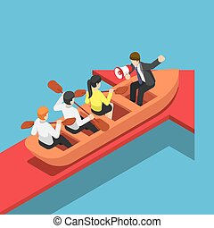 Isometric businessman rowing team going forward on red arrow