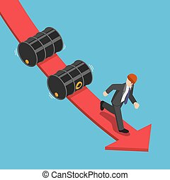 Isometric businessman running away from falling oil barrels on the red graph