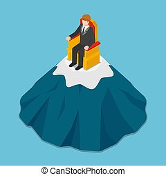 Isometric businessman sitting on the throne at top of mountain.