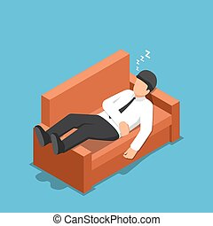 Isometric businessman sleeping on the couch