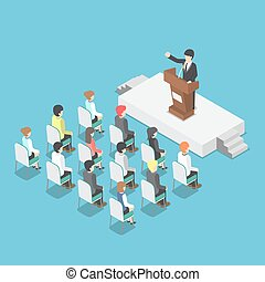 Isometric businessman speaking at a podium in a conference