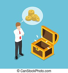Isometric businessman standing in front of empty treasure box.