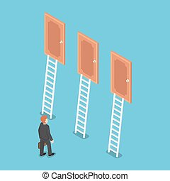 Isometric businessman standing in front of three doors.