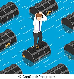 Isometric businessman standing on oil barrel in the water
