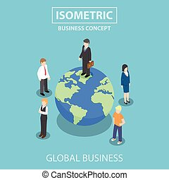 Isometric businessman standing on the world