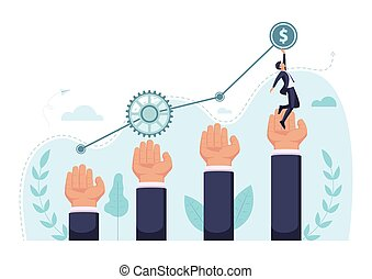 Isometric businessman step up on giant hand to reaching the top of graph