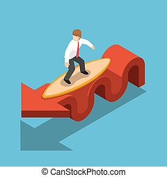 Isometric businessman surfing with surfboard on red graph.