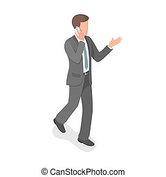 Isometric  businessman talking on the phone.