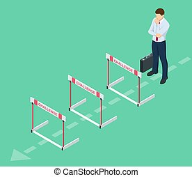 Isometric businessman thinks over how to overcome obstacles on the way to business success. Hurdle on way concept. Overcome obstacles. Business competition