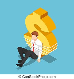 Isometric businessman tied to a dollar sign