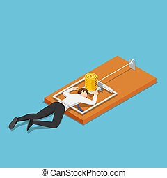 Isometric businessman trapped into mousetrap because of the money