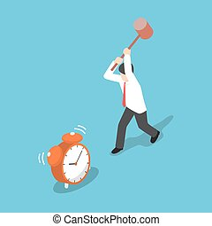 Isometric businessman trying to destroy alarm clock by hammer