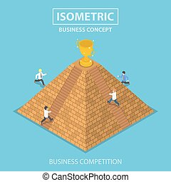 Isometric businessman trying to get winner trophy at the top of pyramid
