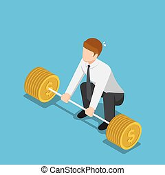 Isometric businessman trying to lifting up barbell with coin weight.