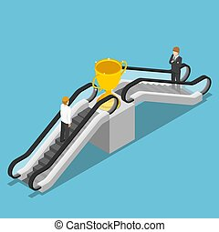 Isometric businessman use an escalator to reach winner trophy.