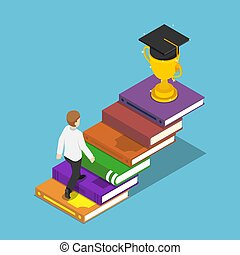 Isometric businessman walking on book ladder to the trophy and graduation cap