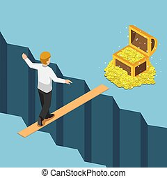 Isometric businessman walking on small bridge over abyss to the treasure box