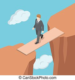 Isometric businessman walking on wooden bridge across the gap between cliff.