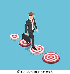 Isometric businessman walking to the bigger target