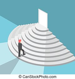Isometric businessman walking up staircase to the door with bright light