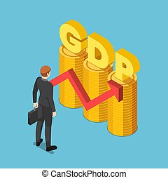 Isometric businessman with GDP word on coin stack with growth red arrow