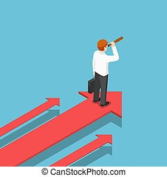 Isometric businessman with telescope standing on arrow