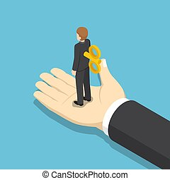 Isometric businessman with wind-up key on his back. - Flat...