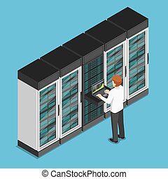 Isometric businessman working on laptop in database center or server room