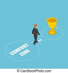 Isometric businessmen come out of the comfort zone to success with winner trophy
