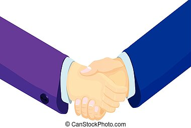 Isometric businessmen shake hands. 3d businessmen came to an...
