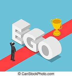 Isometric businessmen was obstructed by the ego wall to find a way to success
