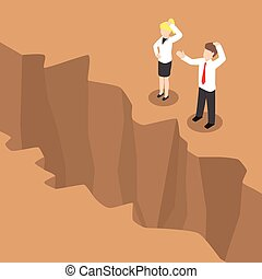 Isometric businesspeople standing at edge of the cliff