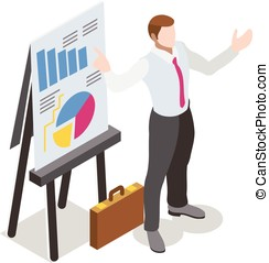 Isometric Businessperson - Businessman Sale Lead Bank Man...