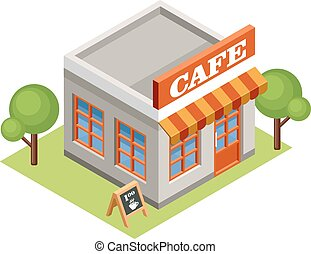 Isometric cafe.