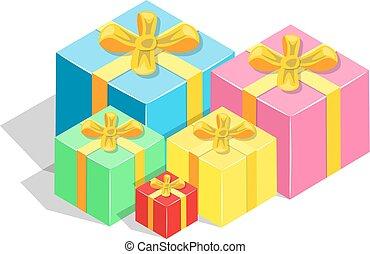 isometric, caixas, presente, colorido
