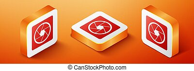 Isometric Camera shutter icon isolated on orange background. Orange square button. Vector